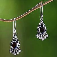 Garnet dangle earrings, 'Red Goddess' - Handmade Sterling Silver Garnet Dangle Earrings