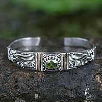 Peridot cuff bracelet, 'Paradise' - Hand Tooled Sterling Silver Peridot Cuff Bracelet from Bali