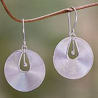 Sterling silver dangle earrings, 'Idea'