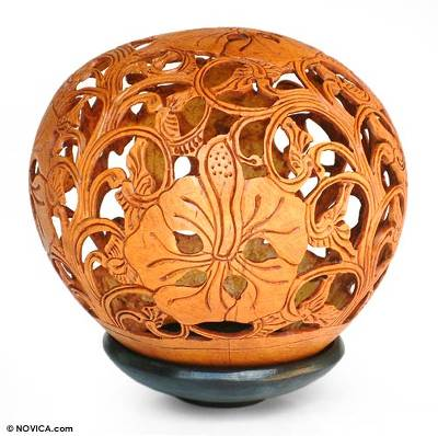 Floral Coconut Shell Carving with Stand