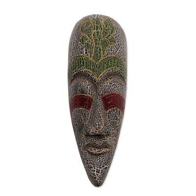 Handcrafted Green and White Painted Albesia Wood Mask