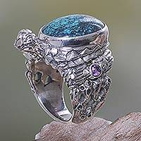 Sterling silver ring, 'Teal Turtle'