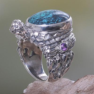 silver panda coin ring