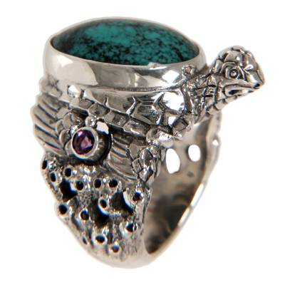 Sterling Silver and Reconstituted Turquoise Ring