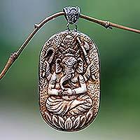 Pendant, 'Auspicious Ganesha' - Carved Bone Hindu Pendant