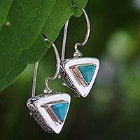 Sterling silver drop earrings, 'Oriental Triangle' - Modern Sterling Silver Drop Earrings