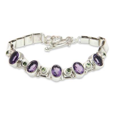 Handmade Amethyst Sterling Silver Link Bracelet