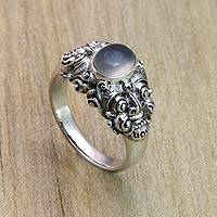 Men's rainbow moonstone solitaire ring, 'Goodness' (Indonesia)