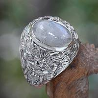 Men's rainbow moonstone ring, 'Lion's Charisma' - Men's Sterling Silver and Rainbow Moonstone Ring
