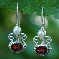 Garnet and pearl dangle earrings, 'Sunrise Spirit' - Sterling Silver Garnet Drop Earrings