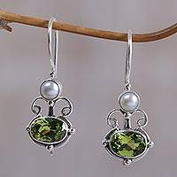 Peridot and pearl drop earrings, 'Sunrise Spirit' - Peridot Sterling Silver Drop Earrings
