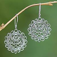 Sterling silver dangle earrings, 'Sunflower' (Indonesia)