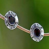 Garnet button earrings, 'Exuberance' - Garnet Sterling Silver Button Earrings