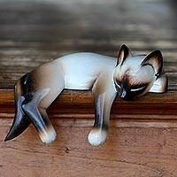 Wood statuette Siamese Cat Nap Indonesia