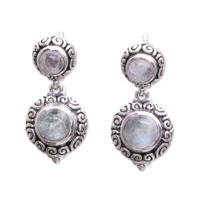 Balinese Style Rainbow Moonstone Dangle Earrings