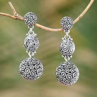 Sterling silver dangle earrings, 'Emanation' - Sterling Silver Dangle Earrings