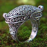 Sterling silver cocktail ring, 'Empress' - Hand Crafted Sterling Silver Ring