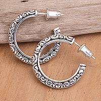 Sterling silver hoop earrings, 'Complexity Hoop'  - Sterling silver hoop earrings