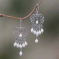 Pearl chandelier earrings, 'Heart Symphony' - Sterling Silver Pearl Chandelier Earrings