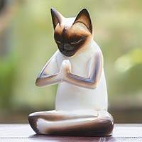 Wood sculpture, 'Kitty Meditates' - Original Hand Carved Cat Sculpture