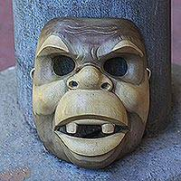 Wood mask, 'Good Clown' - Handcarved Wood Animal Mask