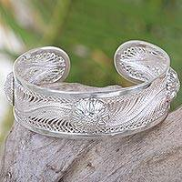 Sterling silver cuff bracelet, 'Empire of the Sun' - Sterling silver cuff bracelet