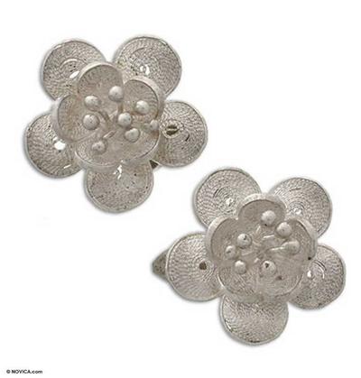 Sterling silver clip-on flower earrings