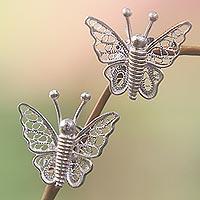 Sterling silver filigree earrings,