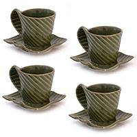 Stoneware cups and saucers, 'Rainforest' (set for 4) - Stoneware cups and saucers (Set for 4)