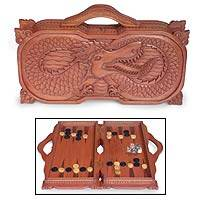 Wood backgammon set, 'Basuki Dragon' - Wood backgammon set