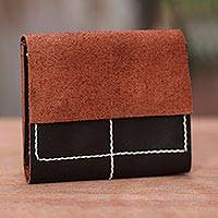 Leather wallet, 'Versatile Dark Brown' - Leather wallet