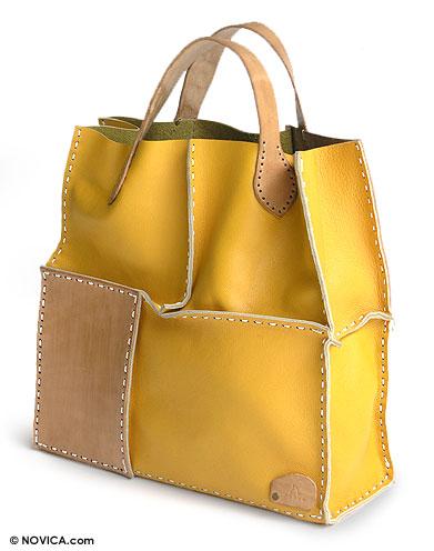 Leather handbag, 'Urban Safari in Yellow' - Leather handbag