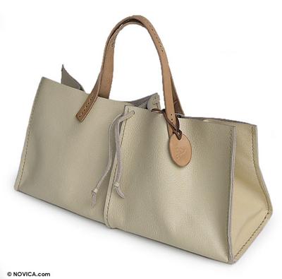 Leather handbag, 'Ivory Sophistication' - Leather handbag