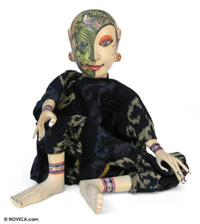 Cotton and Wood Decorative Doll