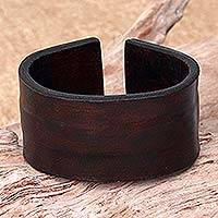 Leather bracelet, 'Brown Reality' - Unique Leather Wristband Bracelet