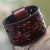 Leather bracelet, 'Floral Brown' - Floral Leather Wristband Bracelet