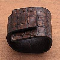 Leather bracelet, 'Fearless in Brown' - Indonesian Leather Wristband Bracelet