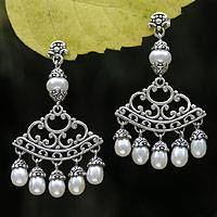 Pearl chandelier earrings, 'Miracles' - Sterling Silver Pearl Chandelier Earrings