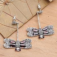 Garnet drop earrings,