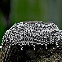 Sterling silver bracelet, 'Bali Armor'