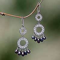 Pearl chandelier earrings, 'Eclipse in Black' - Pearl chandelier earrings