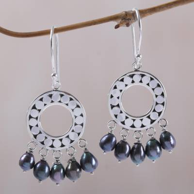 Pearl chandelier earrings, 'Black Moon Aura' - Sterling Silver Pearl Chandelier Earrings