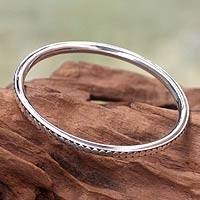 Sterling silver bangle bracelet, 'Moon Silver' - Sterling Silver Bangle Bracelet