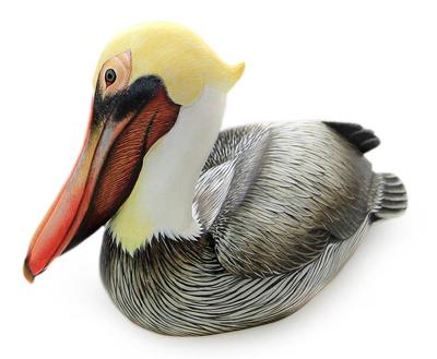 Handcrafted Wood Bird Sculpture