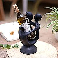 Wood wine bottle holder, 'Happy Family' - Wood wine bottle holder