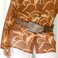 Leather belt, 'Brown Lightening' - Leather belt
