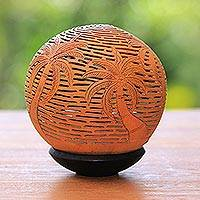 Coconut shell sculpture, 'Coconut Grove' - Unique Coconut Shell Carving with Stand