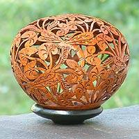 Coconut shell sculpture, 'Wild Dragonflies' - Coconut Shell Sculpture from Indonesia