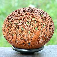 Coconut shell sculpture, 'Papaya Trees' - Unique Coconut Shell Sculpture