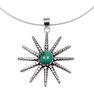 Reconstituted Turquoise and Sterling Silver Necklace